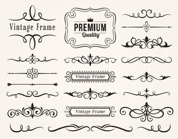 Set of decorative elements for design Set of vector decorative elements for design frame border stock illustrations