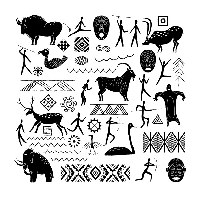 A set of decorative elements from rock art. Prehistoric drawings. Simple style.