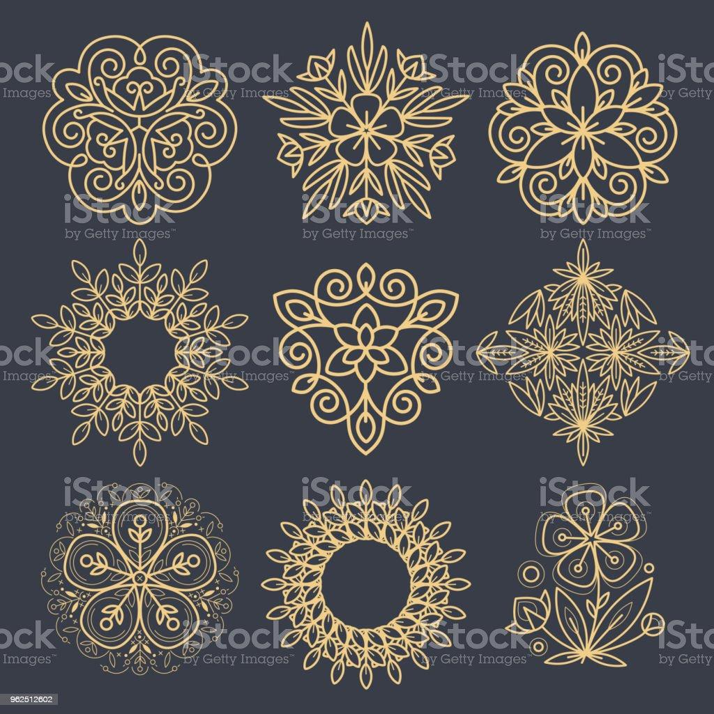 Conjunto de elementos decorativos para criar um logotipo. - Vetor de Bem-estar royalty-free