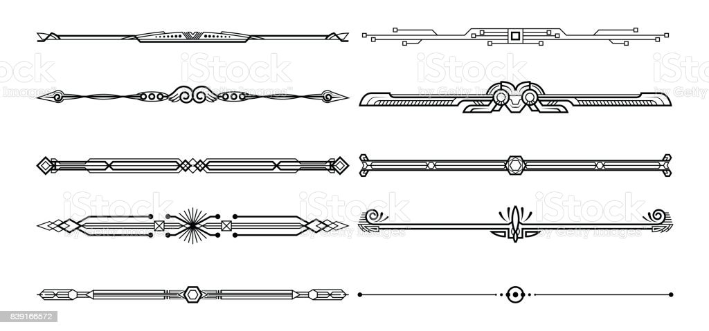 Set of decorative elements. vector art illustration