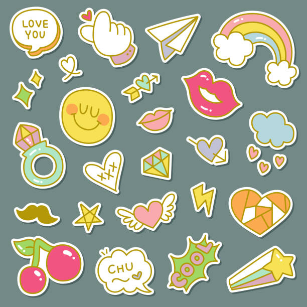 set of decorative fashion patches, badges, or pins - cute stock illustrations