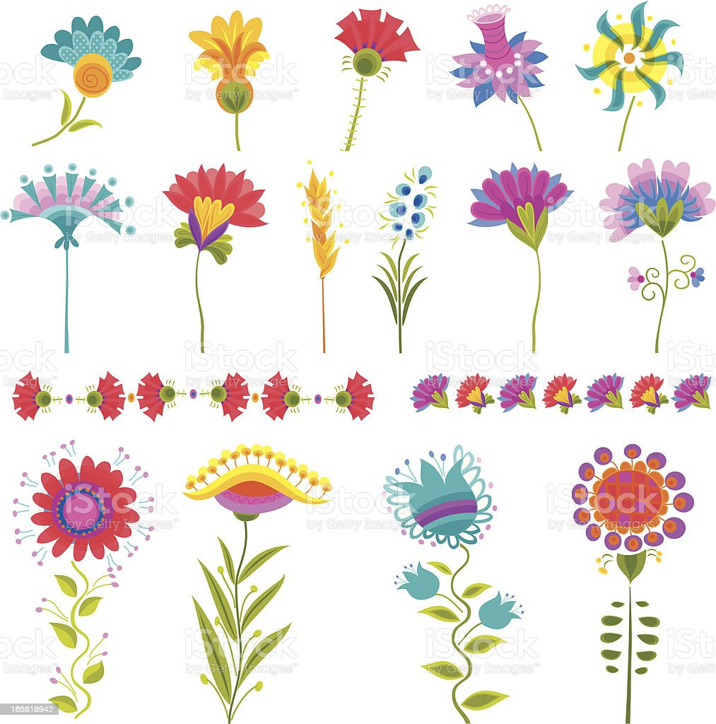 Set of Decorative Floral Elements royalty-free set of decorative floral elements stock vector art & more images of art and craft