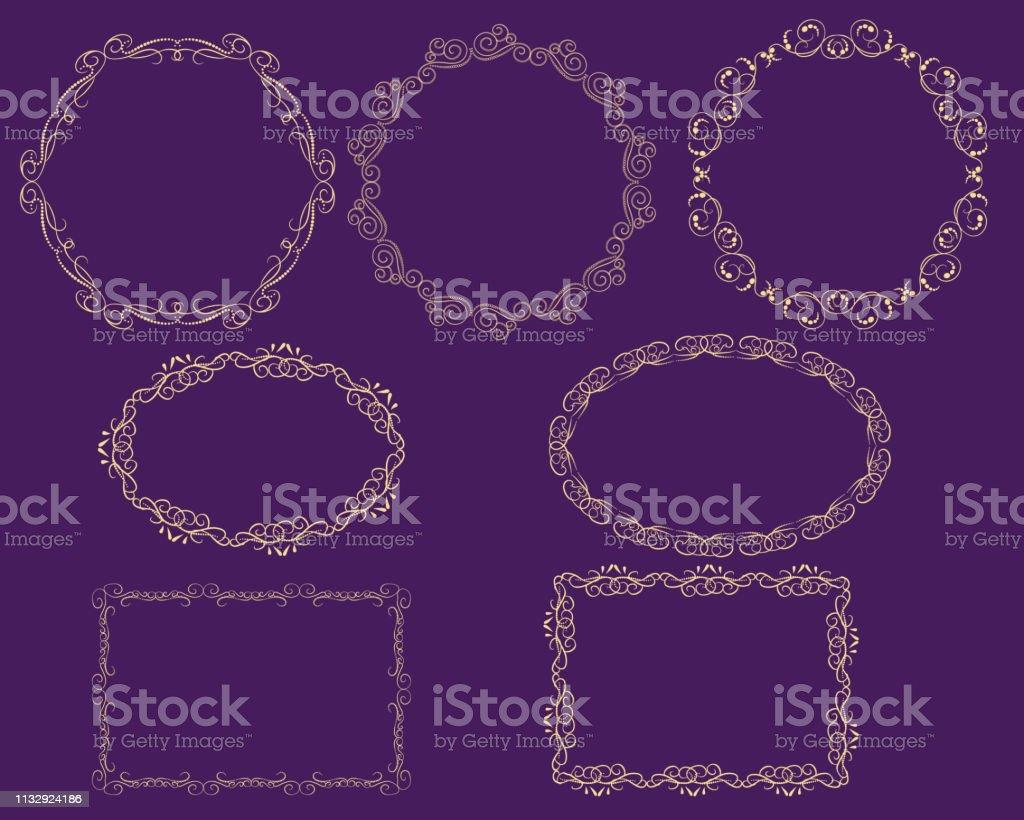 Set of decorative flourish gold frames on the dark background.