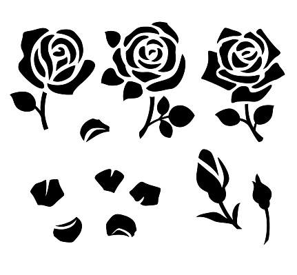 Set of decorative flower silhouette with bud and leaves for stencil design. Vector rose and petals