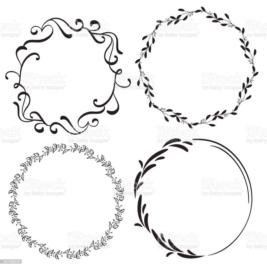Uppsättning av dekorativ ram och gränser konst. Kalligrafi bokstäver vektorillustration EPS10 vektorkonstillustration
