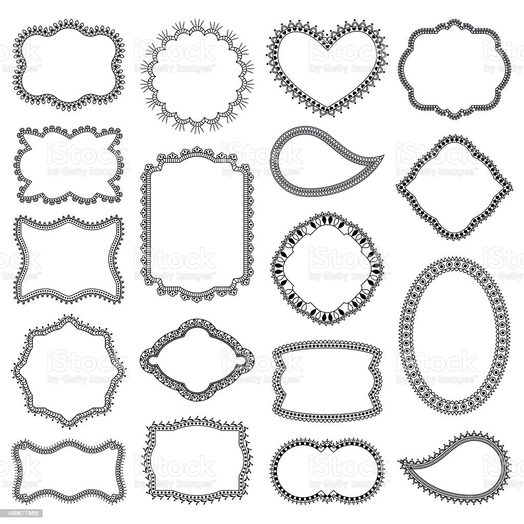 Set Of Decorative Frames Stock Vector Art & More Images of Angle ...