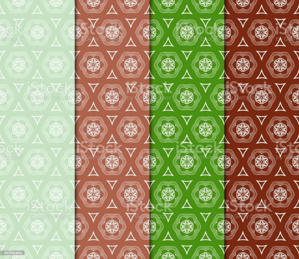 Reihe Von Dekorativen Geometrischen Ornament Nahtlose Muster ...
