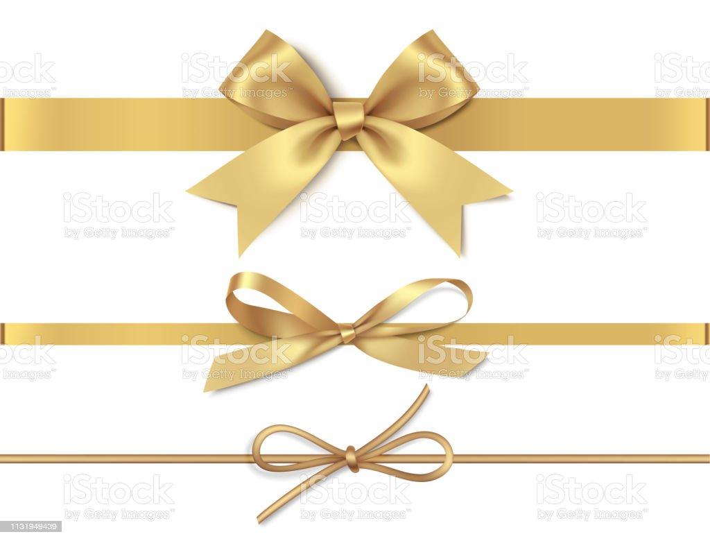 Ensemble d'arcs décoratifs dorés avec ruban jaune horizontal isolé sur fond blanc. Illustration vectorielle - clipart vectoriel de Anniversaire d'un évènement libre de droits
