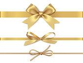 白の背景に孤立した水平黄色のリボンと装飾的な黄金の弓のセット。ベクトルイラストレーション