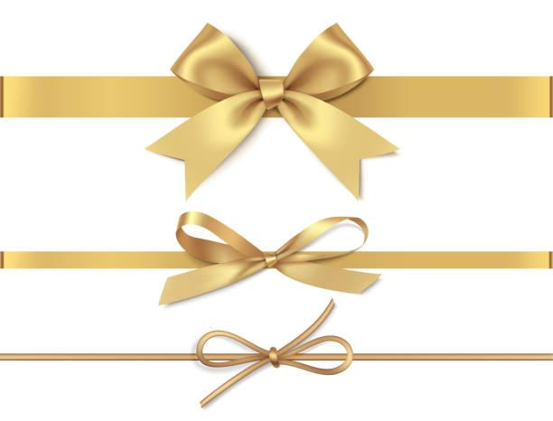 zestaw ozdobnych złotych kokardek z poziomą żółtą wstążką izolowane na białym tle. ilustracja wektorowa - gift stock illustrations