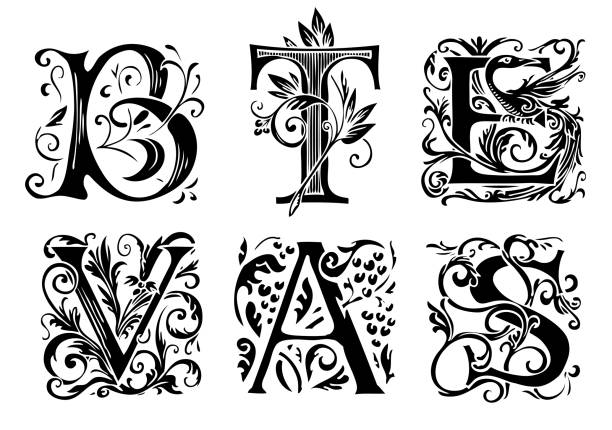 set of decorative hand drawn initial letters Vector set of six decorative hand drawn initial letters. English letters in vintage style. Fancy letters with curls. Black and white illustration. fairy tale stock illustrations