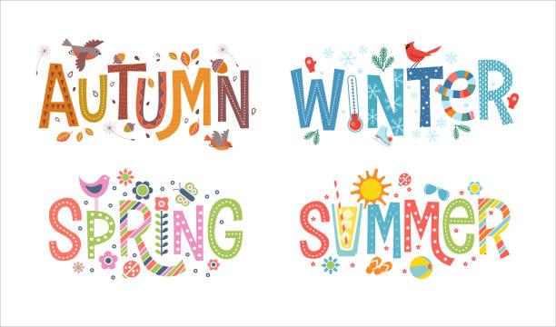 dekoratif, resimli kelimeler sonbahar, kış, ilkbahar ve yaz seti. - four seasons stock illustrations