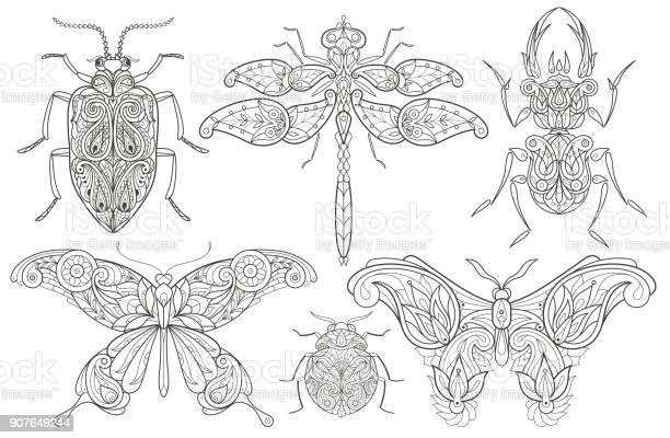Set of decorative insects vector id907649244?b=1&k=6&m=907649244&s=612x612&h=lihie5p1xobvsziwh1syjq5an mxl2odhn1nzm1n8ow=
