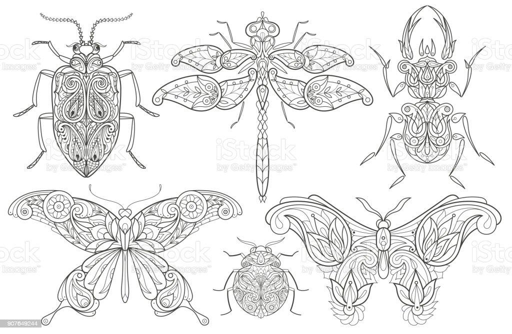 Uppsättning av dekorativa insekter. vektorkonstillustration