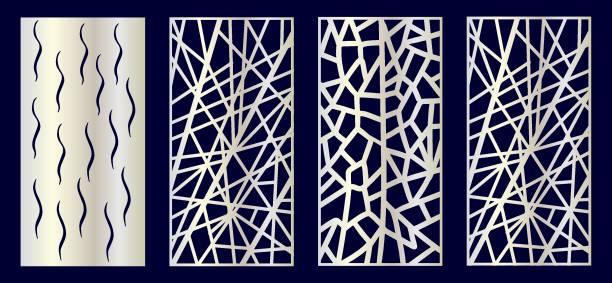 Set of Decorative laser cut panels Set of Decorative laser cut panels with geometric elements. Vector Illustration. decorative laser cut set stock illustrations
