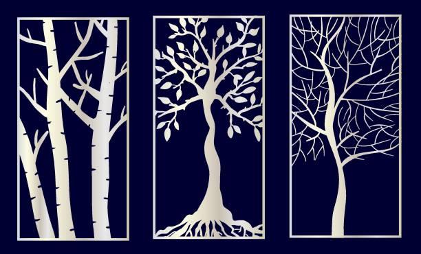 Set of Decorative laser cut panels Set of Decorative laser cut panels with tree shapes.Vector Illustration. decorative laser cut set stock illustrations