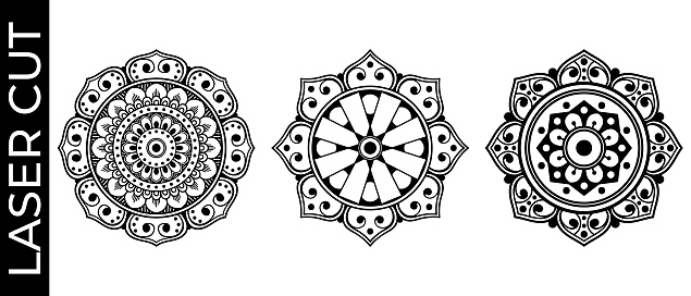 Set of decorative mandalas for laser cutting. Hand drawn background, vector isolated on white