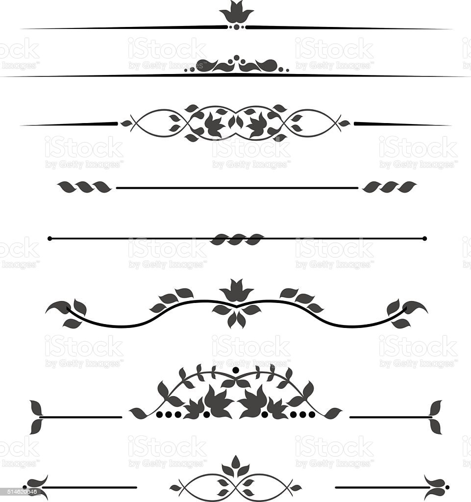 Set of decorative monograms for text, patterned stripes isolated vector art illustration