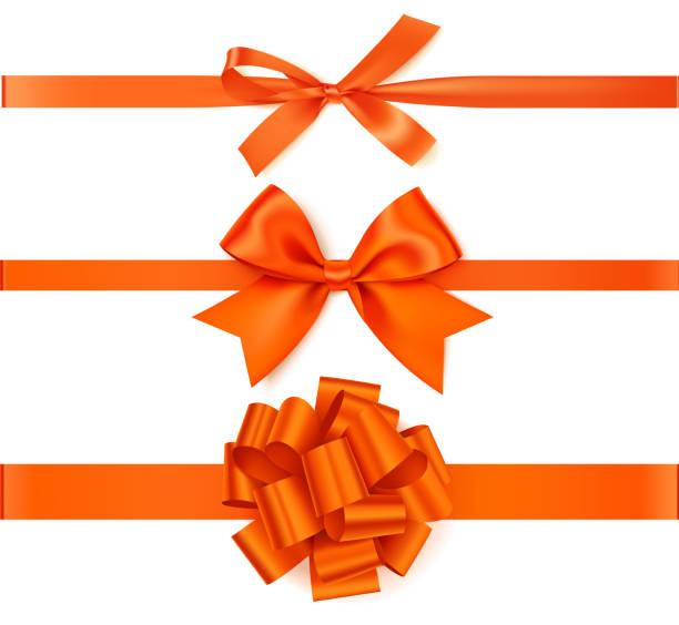 Set of decorative orange bows with horizontal orange ribbons isolated on white background. Beautiful autumn bow with ribbon. Vector illustration tied bow stock illustrations