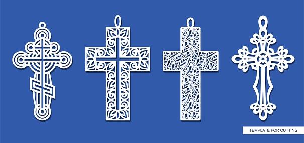 Set of decorative pendant crosses.
