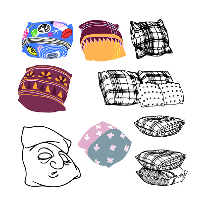 set of decorative pillows, interior elements, sofa cushions made of plaid material