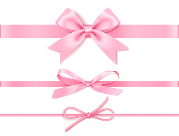 set of decorative pink bow with horizontal pink ribbon for gift decor. realistic vector bow and ribbon isolated on white. - kokarda stock illustrations