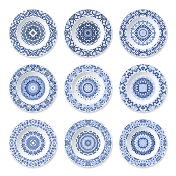 set of decorative plates - wyrób ceramiczny stock illustrations
