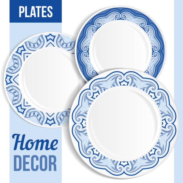 Set of decorative plates. vector art illustration