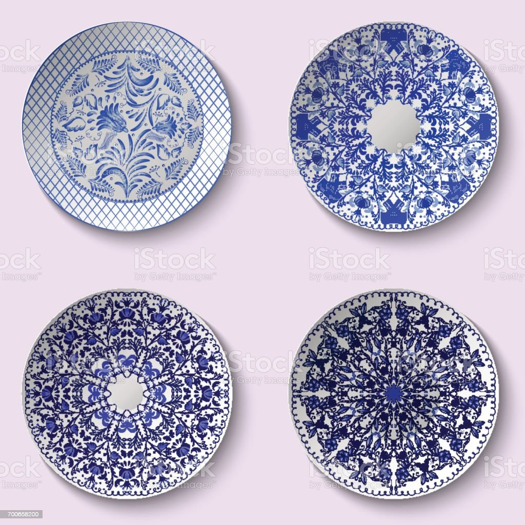 Set of decorative porcelain dishes with blue ethnic pattern in the style of Chinese painting on porcelain vector art illustration