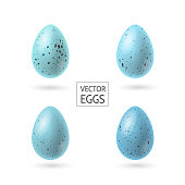istock Set of decorative realistic Robbin eggs vector illustration as decorative element for Easter. Spotted small blue eggs 1273860789