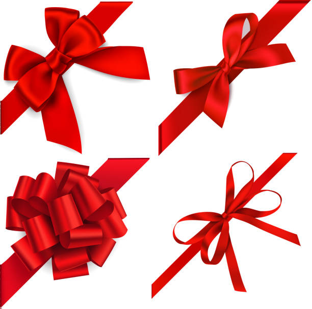 ilustrações, clipart, desenhos animados e ícones de jogo de curvas vermelhas decorativas com a fita diagonalmente vermelha no canto isolado no branco. elementos do projeto do feriado. - laço