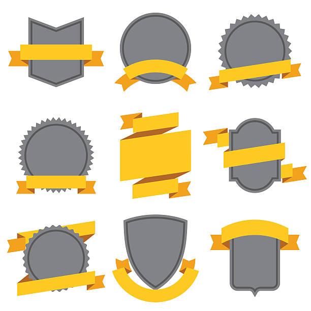 Satz von dekorativen Bänder und Banner in flat style – Vektorgrafik