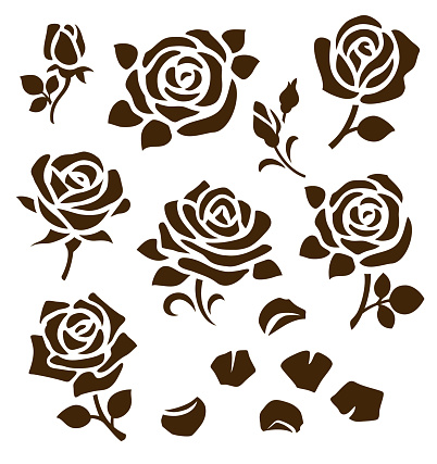 Set of decorative rose silhouettes with petals and leaves. Flower icons