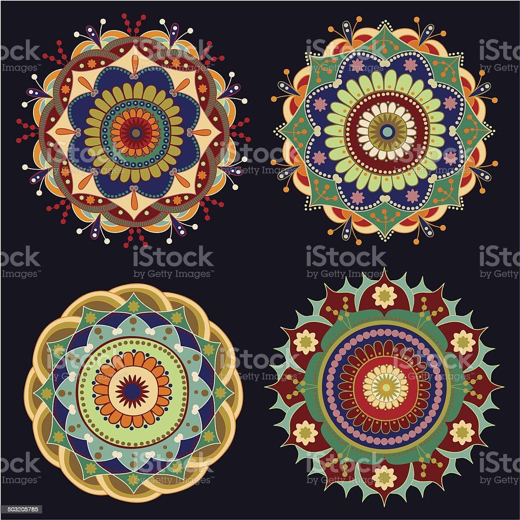 Set of decorative rosettes, decorative elements vector art illustration