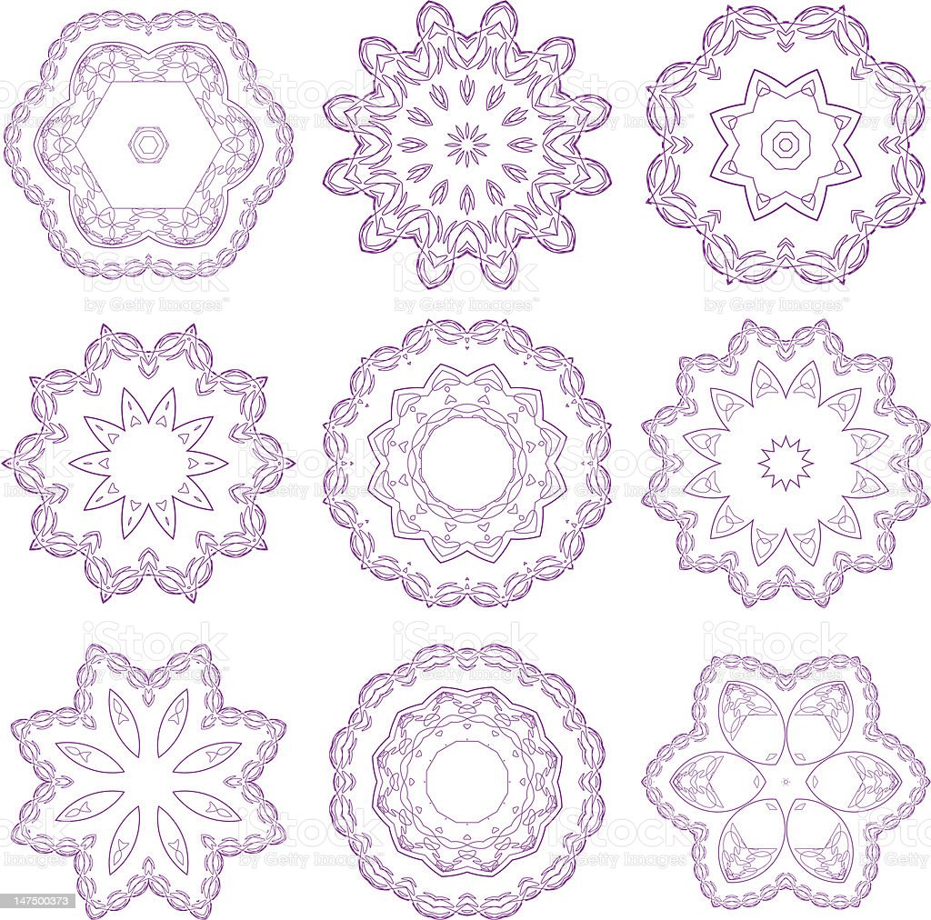 Set of decorative round pattern royalty-free stock vector art