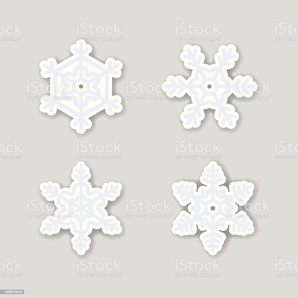 Set of decorative snowflakes vector art illustration