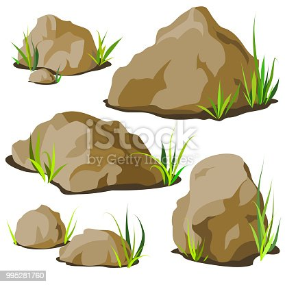 Set of decorative stones of different shapes with grass. Elements of landscape design. Vector illustration.