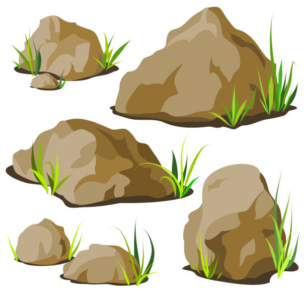 set of decorative stones of different shapes with grass. elements of landscape design. - skała stock illustrations