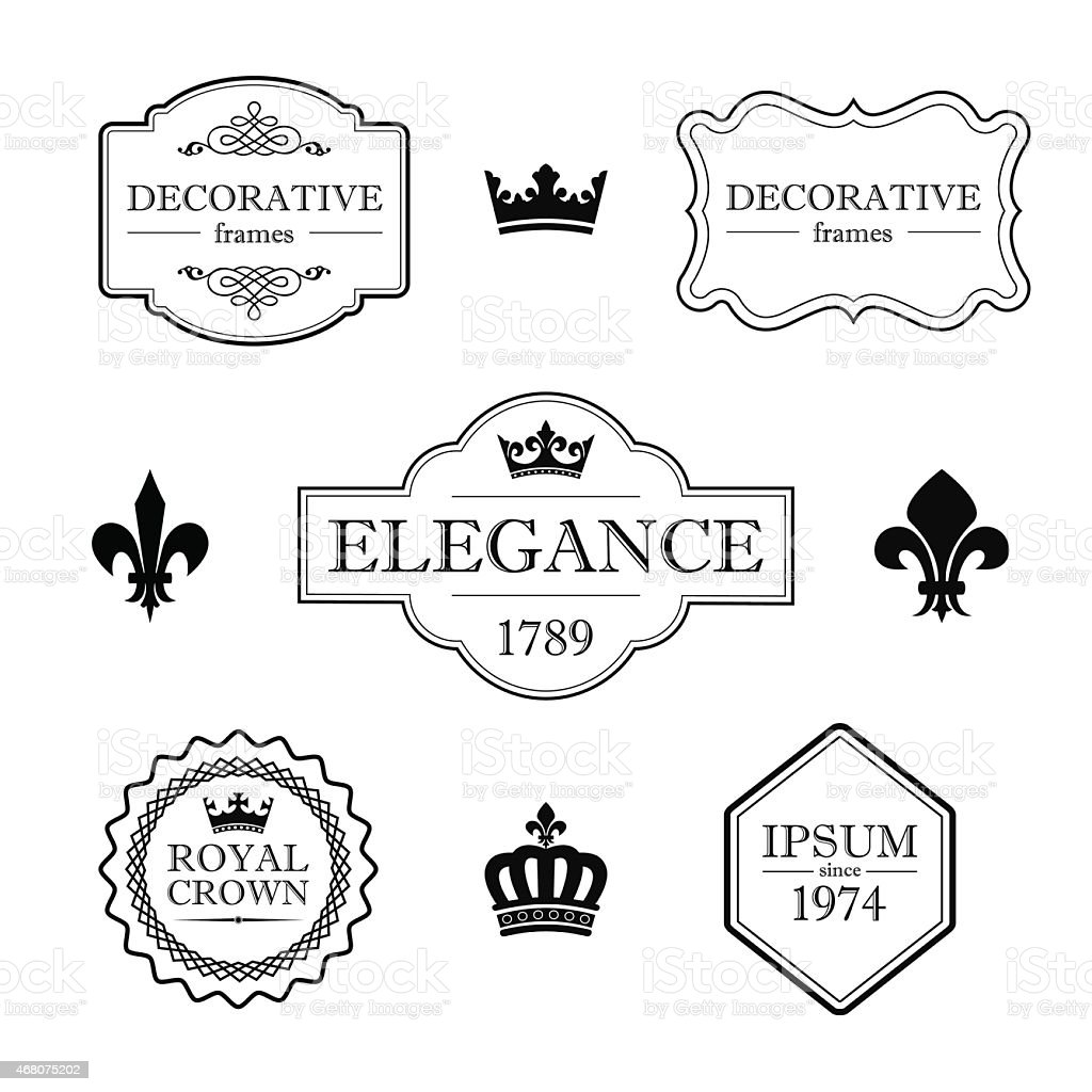 Set of decorative vintage frames, borders, and design elements vector art illustration