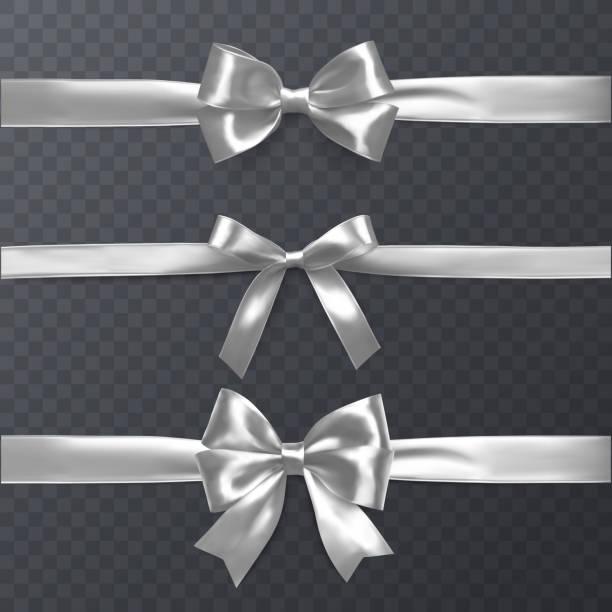 一套裝飾白色弓與水準的絲帶隔絕在透明背景, 弓和絲帶為禮物裝飾, 向量例證 - 銀色 幅插畫檔、美工圖案、卡通及圖標