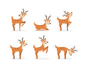 Set of brown deer running and jumping. Beautiful stylized cartoon deers isolated on a white background. Cartoon character animal design. Vector illustration in flat style. Eps 10.