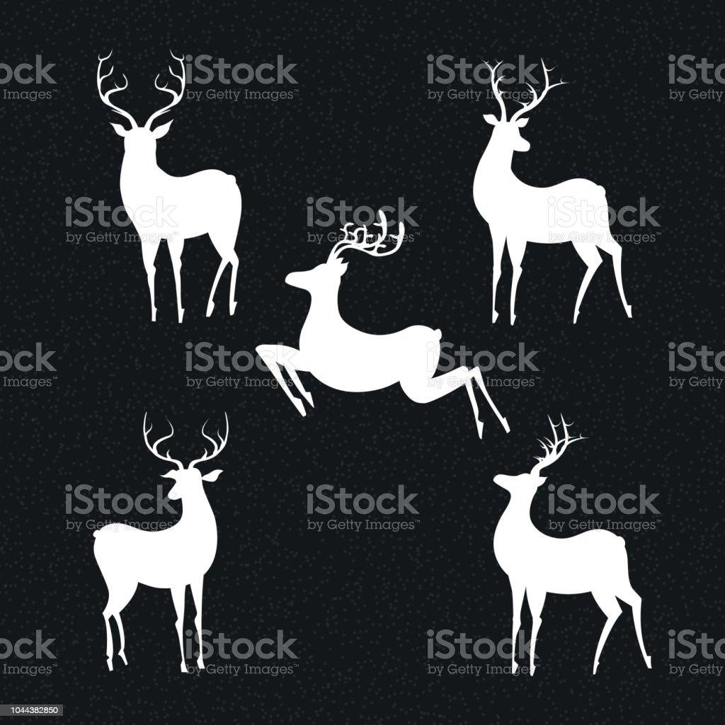Set of deers vector art illustration