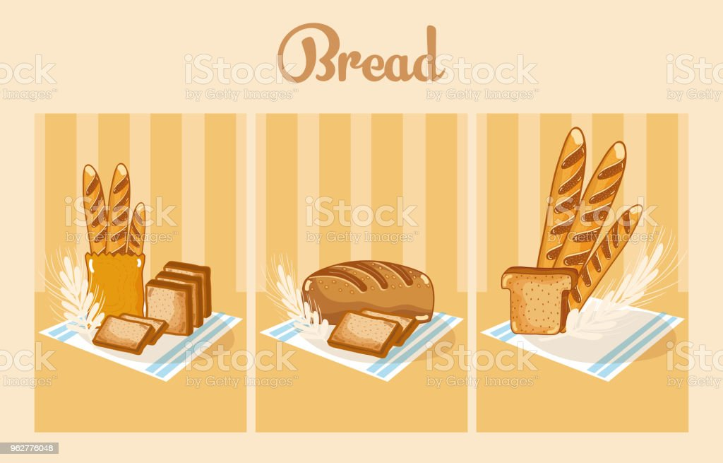 Set of delcious breads vector art illustration