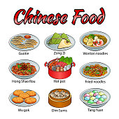 Set of delicious and famous food of Chinese in colorful gradient design icon,vector illustration
