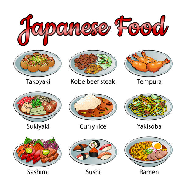 ilustrações de stock, clip art, desenhos animados e ícones de set of delicious and famous food of japanese in colorful gradient design icon - tempura