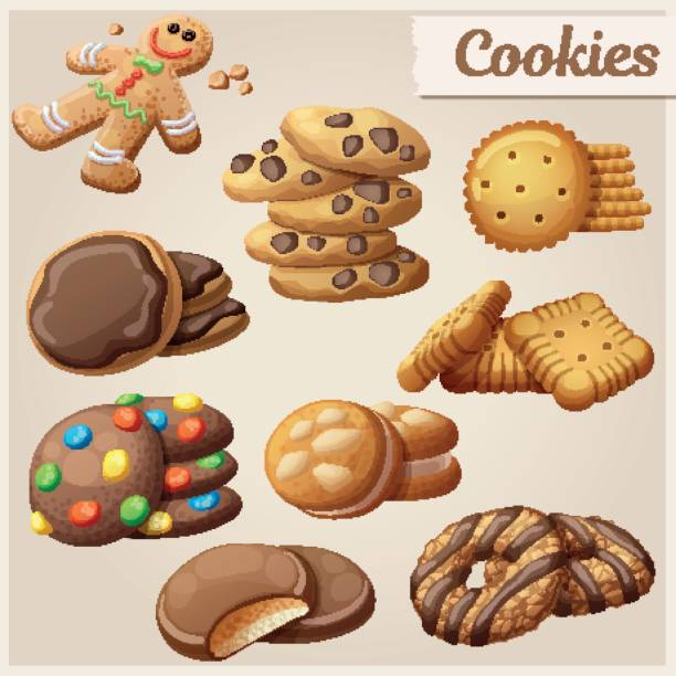 Set of delicious cookies. Cartoon vector illustration. Food sweet icons. vector art illustration