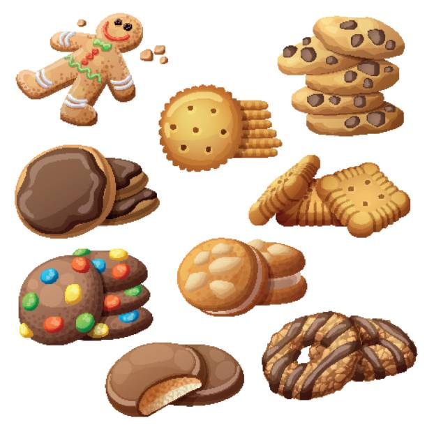 Set of delicious cookies. Cartoon vector illustration. Food sweet icons isolated on white background vector art illustration