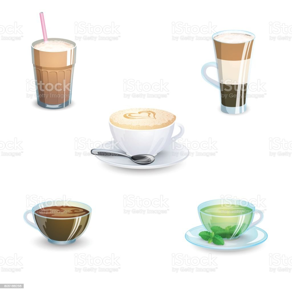 Set of delicious hot drinks coffee, tea and supplies isolated on white background. Vector illustration. vector art illustration