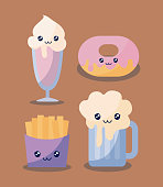 set of delicious ice cream with food kawaii character