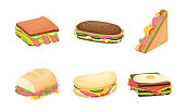 Collection set of delicious juicy sandwiches with vegetables, cheese, meat, bacon with a crispy crust. Isolated vector icon illustration on white background in cartoon style